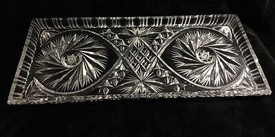 Vintage Large Pinwheel Crystal Serving Tray - A Heavy Piece