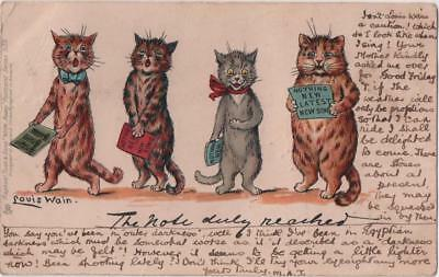 GB: 1903 Used Louis Wain Cat Postcard 'The Note Duly Reached' Series 539 (11249)
