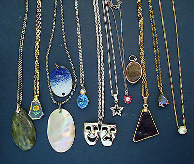 GOOD COLLECTION 12 VINTAGE PENDANT NECKLACES LOT inc STERLING SILVER STAR FLOWER
