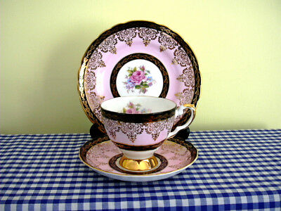 Vintage Tuscan China Trio Pink Black Bands Ornate Gold Roses Teacup Saucer Plate