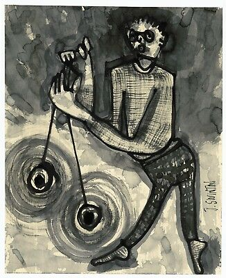 SPIN CONTROL abstract/folk/outsider? ink drawing/painting J.Swinton Canadian NR