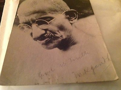 postcard of Ghandi Signed God is Truith With his signature