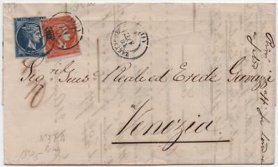 GREECE: 1875 Example on Entire to Venezia - with Multiple Cancels (10980)