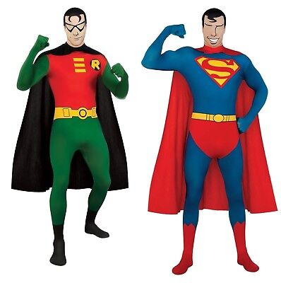 New DC Comic's Adult Superman or Robin 2nd Skin Bodysuit Costume by Rubies