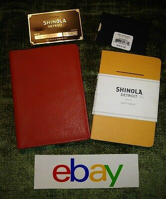 New NWT ! Shinola CUSTOM CHILI RED Small Journal Cover W NOTEBOOK MSRP $158.75