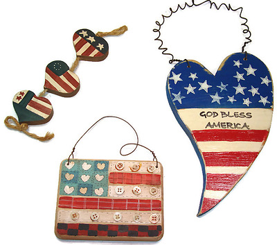 Lot of 4th Of July Red White & Blue Patriotic Decorative Wood Flag Heart Country