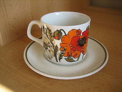Vintage J & G Meakin Poppy Cup And Saucer