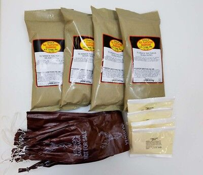 100 Lb Venison Summer Sausage Kit Includes Seasoning, Mahogany Casings, Cure