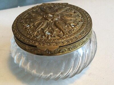 Vintage/Antique glass Powder Jar with gilded chased brass lid