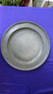 """Large Single Reed Antique Pewter Plate (16 3/4"""")"""