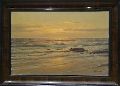 Fine Large Circa 1900 Sunset Coastal Seascape Landscape Antique Oil Painting