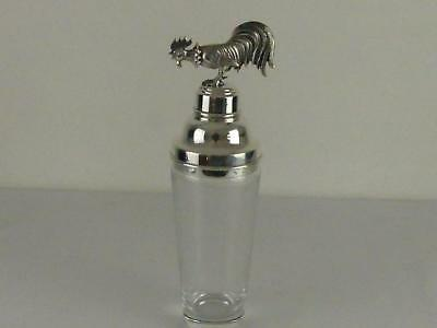 (REF165DP) Superb rare antique silver plated cocktail shaker with cockerel top