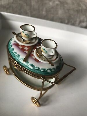 Limoges Tea Cart Trinket Box- unboxed great condition. Limited edition