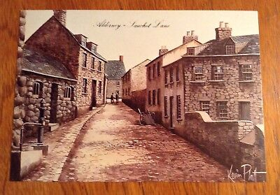 1 Postcard of Sauchet Lane Alderney Guensey from the painting by Kevin Platt