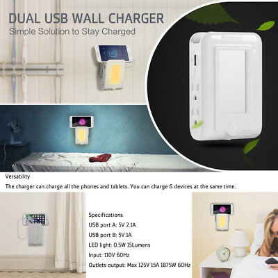 Wall Mount Charger 4 AC Outlet Dual USB Charging Ports Sensor LED Night Lights