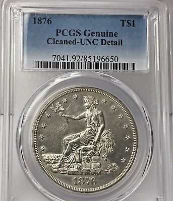 1876-P $1 Trade Silver Dollar Pcgs Genuine Uncirculated Details Cleaned #650