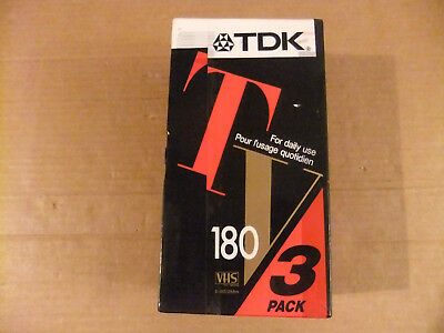 TDK VHS blank video cassette tapes. Pack of 3 E-180TVEA. Daily use. Brand new.