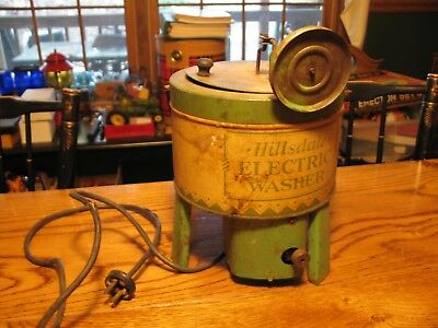 Vintage  1930's Hillsdale Child Real Electric Toy Washer USA Pressed Steel