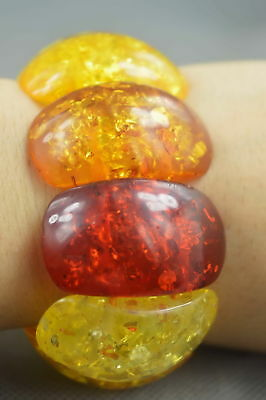 Collectable Handwork Burnish Old Amber Carve Texture Glossy Bead Lucky Bracelet