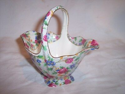 Antique Royal Winton Old Cottage Chintz China Basket /  Jug - Floral Chintz