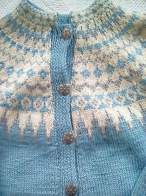 True Vintage Pure Wool Jumper Cardigan Hand Knit Nordic Medium Blue/ white excel