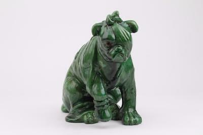 "BRETBY POTTERY DOG ""AFTER THE BATTLE"" WOUNDED DOG GREEN GLAZED. c1891 - 1900"