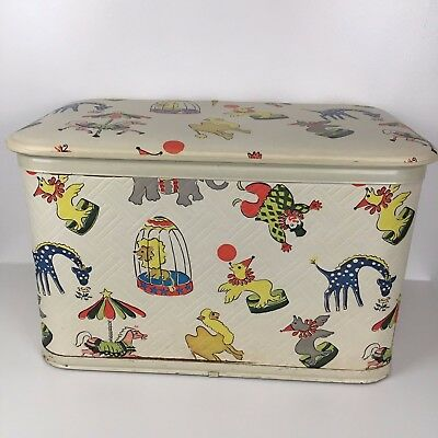 Vintage 50s Clowns Circus Animal Toy Box Chest Wood Vinyl Hamper Childrens Kids