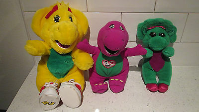 "9"" Singing Purple Barney + 12"" Yellow Bj + 9"" Green Baby Bop Soft Toys"
