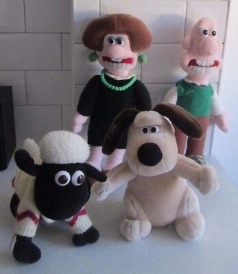"15"" Wallace  & Gwendoline 11"" Gromit The Dog & Shaun The Sheep Plush Soft Toys"