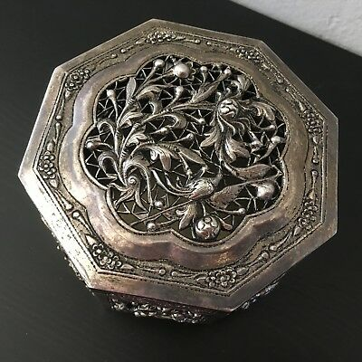 Chinese Export Silver Box Repousse Reticulated Song Birds Garden Hinged Octagon