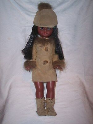 Original Vintage  / Retro Doll In Suede 1960's / 70's Outfit - Black Doll
