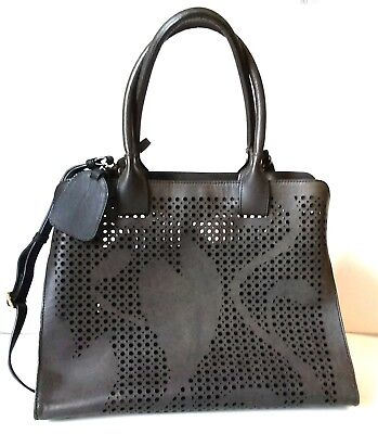 Large Black Floral Perforated Genuine Leather Tote with Pouch