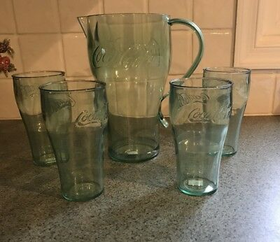 ~~ COCA COLA ~~  GREEN LARGE PLASTIC COKE PITCHER And 4 Cups Green