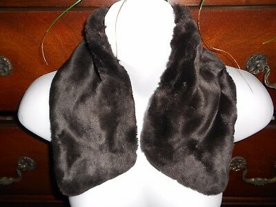 "Brown Sheared Beaver Faux Fur Collar 21"" x  4"" Lined ~Loops ~Button holes EUC"