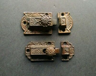 Two Antique Eastlake Victorian Ornate Cast Iron Cabinet Cupboard Door Latches