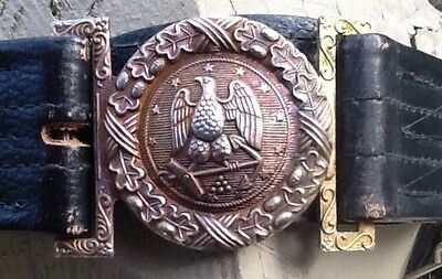 US Navy Officer's Leather Sword Belt & Buckle, Hilborn-Hamburger, Post WW 2