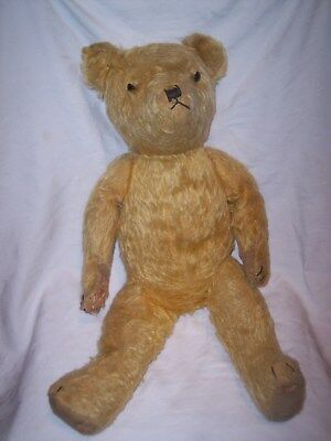 Antique Teddy Bear - Straw Filled - Golden Colour  - In Need Of Tlc