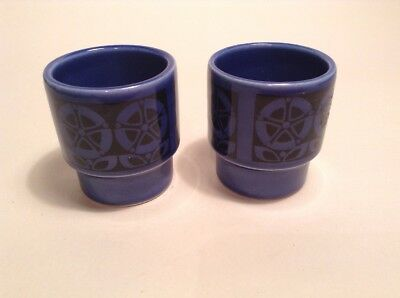 Pair Of Hornsea Blue And Black Egg Cups