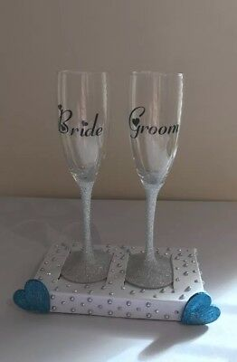 Mr And Mrs Bride & Groom Glitter Glass Personalised Wedding Gift
