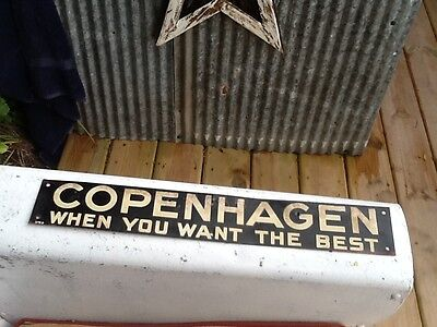Vintage Metal Copenhagen Snuff Tobacco Metal Pocket Can Tin Sign 18 by 3 inches