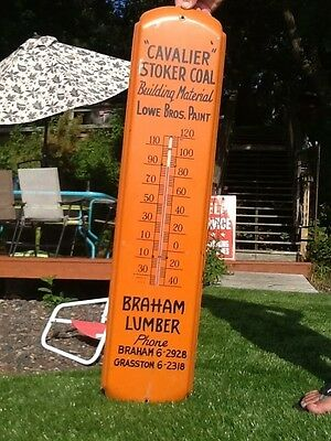Vintage Braham MN lumber company Metal Thermometer Sign 36in Works Mora Hinckley
