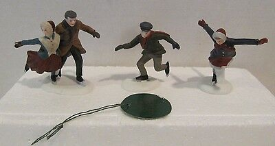DEPT 56 Skating Party 5523-9 HERITAGE VILLAGE 3 Ice Skaters Set Pre Own in Styro