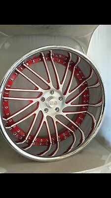 22 Inch SS 3 Piece Wheels STAGGERED, BRUSHED CENTER, CHROME OUTER