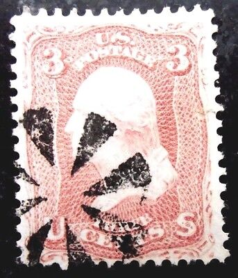 Buffalo Stamps, Scott #64b, 1861 Rose Pink, VF w/ Fancy Wedge Cancel, CV = $150