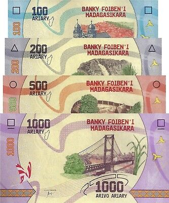 Madagascar 4 Note Set: 100 to 1000 Ariary (ND/2017) - Flora and Fauna/pNew UNC