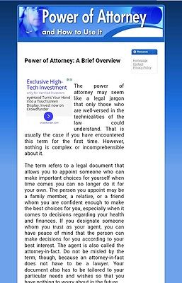 Power of Attorney Niche Articles Websites 1 Free Domain & Free Hosting