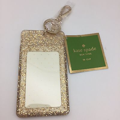 Kate Spade Id Clip in Gold Glitter, New Free Ship
