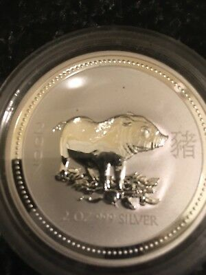2007 Australia Lunar Year Of The Pig 1 oz .999 Silver Coin In Mint Capsule