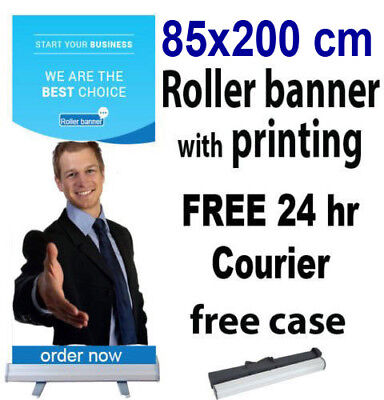 80x200cm Roller Banner Print Pull Up POP Up Exhibition Stand Free 24hr Shipping