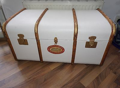 Steamer Trunk Coffee Table Linen Trunk Hand painted In Raffles Colonial Style